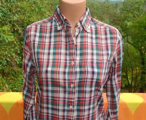 vintage 70s blouse plaid WRANGLER red blue shirt by skippyhaha