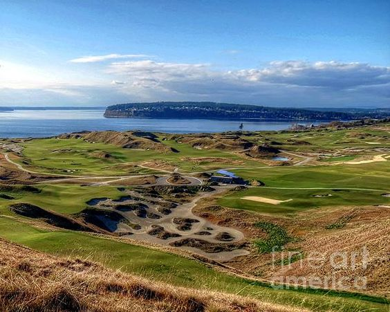 """""""Chambers Bay View""""......A view of Chambers Bay Golf Course, which is a part of Chambers Creek Properties. Located in University Place, Washington, and bordered by the South Puget Sound, this municipal, Scottish style links golf course was chosen to hold the 2010 US Amateur and 2015 US Opens barely one year after it's official opening June 23rd, 2007."""