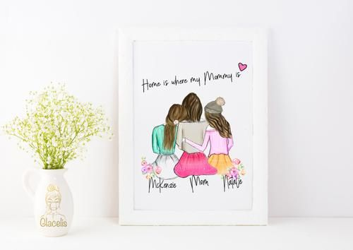 Personalized Daughters And Mom Wall Art Personalized Best Friend Gifts Personalized Mother S Day Gifts Diy Gifts For Mom