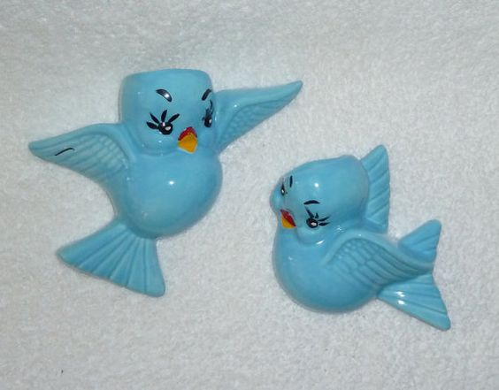Vintage 50s 60s Bluebird Wall Pockets Vases Planters by crazy4me, $150.00