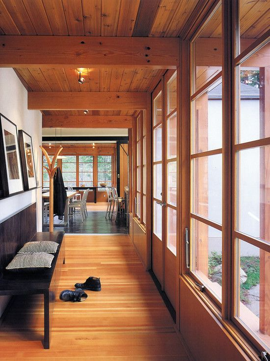Modern Cabin Design... love the combination of elements: wood, metal, mod frames