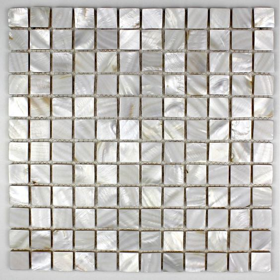 mosaic in nacre. mother of pearl mosaic tiles can be poses in kitchen or bathroom floor or wall