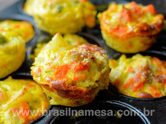Muffin Salgado Light de Vegetais Super Fácil  http://goo.gl/QElrHb