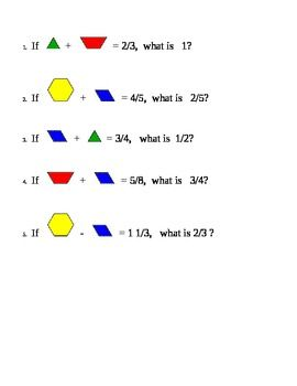 math worksheet : pattern blocks fractions and sentences on pinterest : Pattern Block Fraction Worksheets