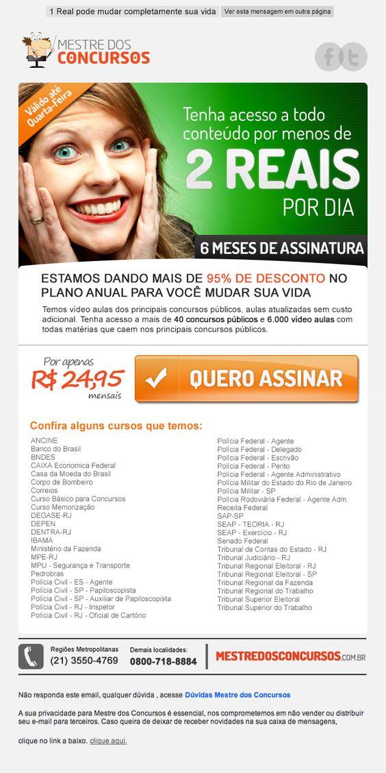 E-mail de Divulgação do plano de Assinatura do mestre dos concursos  http://www.mestredosconcursos.com.br