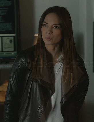 white half placket blouse and leather jacket#CatChandler #BeautyandtheBeast ->  Outfit Details: http://wornontv.net/22806/ #BATB
