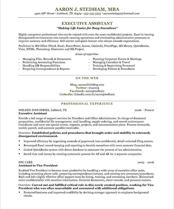Help on How To Write an Executive Assistant Resume - personal assistant resume template