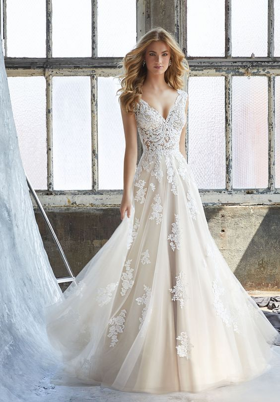 Buy Mori Lee 8206 Kennedy V-Neck A-line Wedding Gown