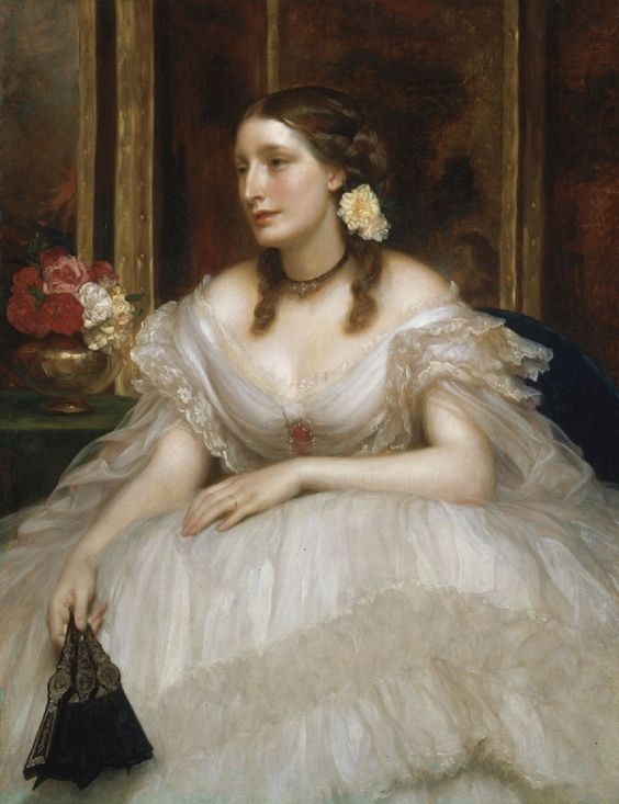 Portrait of the Hon. Augusta Frederica Annie FitzPatrick (d.1903), daughter of John FitzPatrick, 1st Baron Castletown of Upper Ossory | Sir Frederic Leighton (date unknown):
