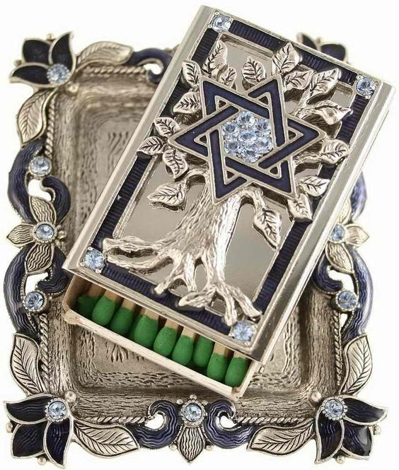 Blue Matchbox Holder And Tray - From Traditional Jewish Gifts.