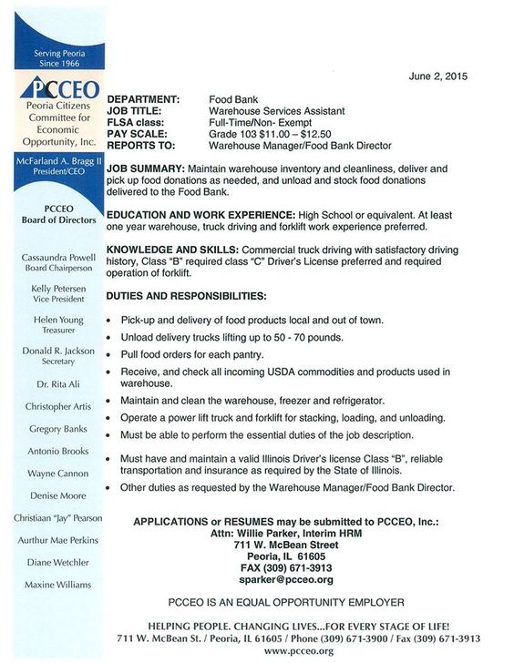 PCCEO is looking for a warehouse   driver Call 3096713900 for - warehouse manager job description