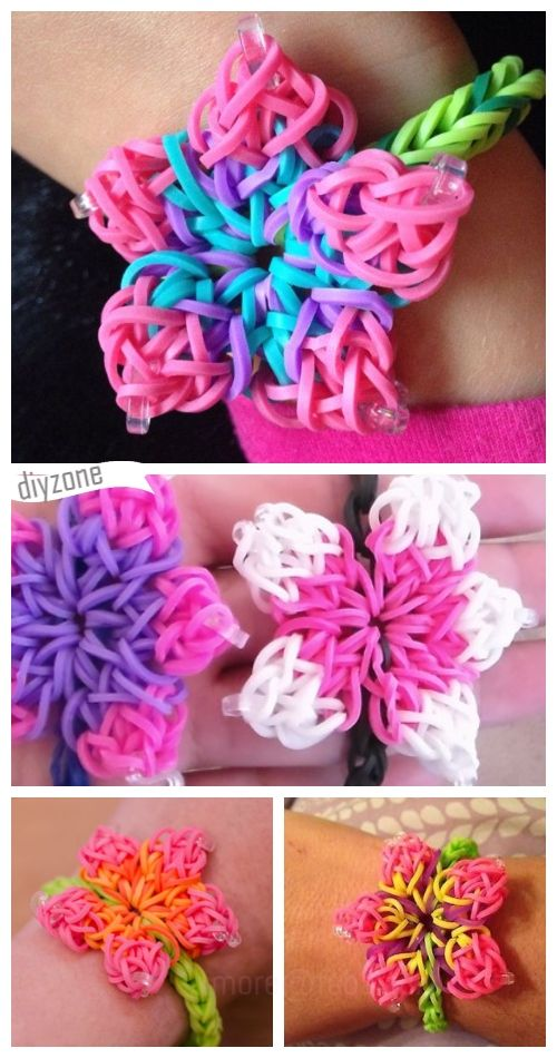 Rainbow Loom Hibiscus Flower Bracelet Diy Tutorial Diy Zone Flower Bracelet Diy Rainbow Loom Rainbow Loom Designs