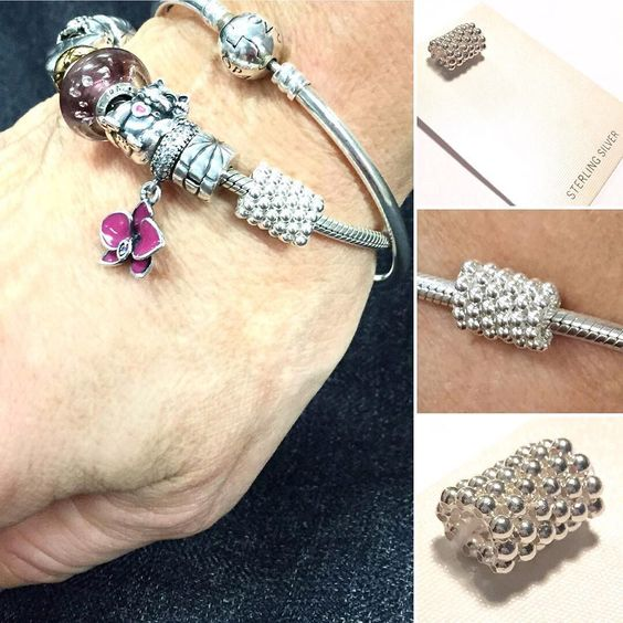 """A #custom gift I made for a very special person - my daughter's teacher!  A sterling silver beaded """"charm"""" for her Pandora bracelet  I'm so happy with how it turned out and she loved it!  Hmm maybe a new offering for my on-line shop...? #mellabelladesigns #handmadejewelry #customjewelry #gift #charm #charmbracelet #Pandora #Pandorabracelet"""
