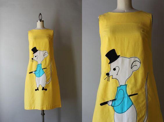 1960s Dress / 60s Dapper Chap Novelty Dress / by HolliePoint
