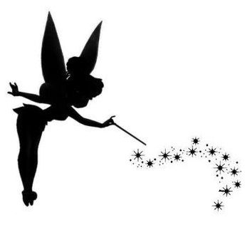 Tinkerbell tattoo upper back shoulder tattoos for Black and white tinkerbell