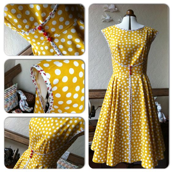 1952 Walk~Away Dress (Butterick B4790)  Made in crafting cotton with cherry print bias binding.  I cut a size smaller than my measurements, increased the darts by 1/4 inch & shortened the bodice by 1 inch   Other than that pretty much straight forward & I love it !!!