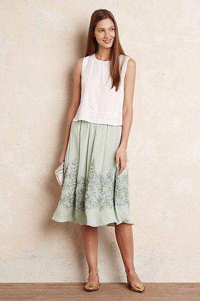 Anthropologie EU Myrtle Embellished Skirt, Green