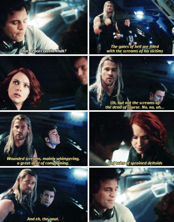 Three things. One: Natasha caused Thor, the stinking god of thunder, to frantically make things better with just a look. Two: nervous Thor is the best. Three: cap's face in the background is just great.
