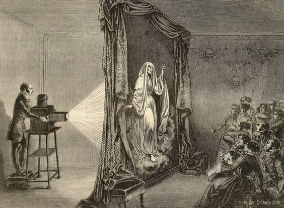 Etienne Gaspard Robert (1763–1837) : Phantasmagoria  Phantasmagoria was a form of theatre which used a modified magic lantern to project frightening images such as skeletons, demons, and ghosts onto walls, smoke, or semi-transparent screens, frequently using rear projection. The projector was mobile, allowing the projected image to move and change size on the screen, and multiple projecting devices allowed for quick switching of different images. Invented in France in the late 18th century.