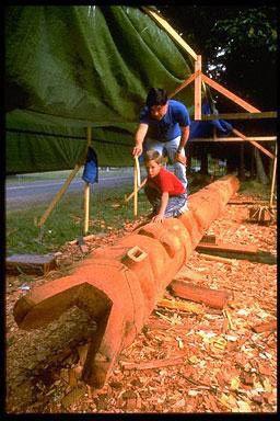 Tsimshian totem pole carver,David Boxley and his son,Kingston WA.