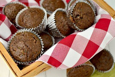 Healthier Double Chocolate Zucchini Muffins by Iowa Girl Eats