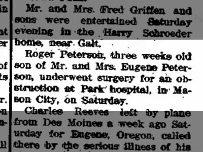 Roger Peterson, 3week old son of Eugene Peterson underwent surgery