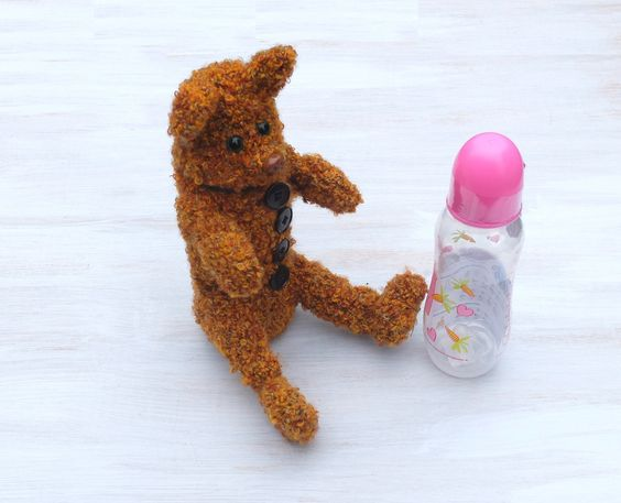 Glass bottle cover Plastic bottle cosy Baby bottle sleeve For kids Crochet cozy Animal shaped cozy Brown bear For animal lovers - pinned by pin4etsy.com