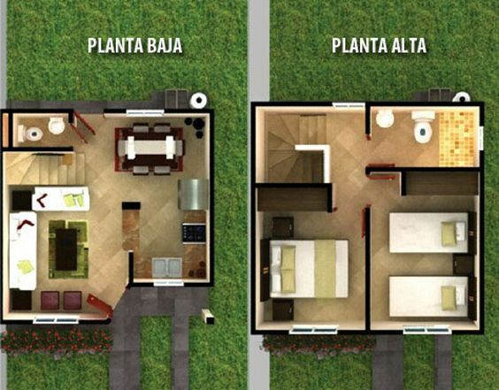Planos De Casas De 6 Metros De Frente Fachadas De Casas De Dos Pisos Con 6 Metros Al Frente De Co Tiny House Design Small House Design Small House Design Plans