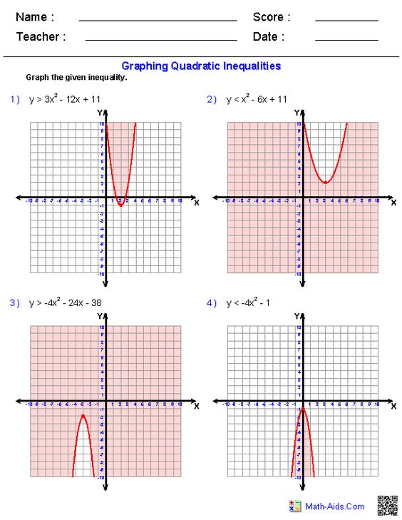 Printables Graphing Quadratic Inequalities Worksheet graphing quadratic inequalities worksheets math aids com worksheets