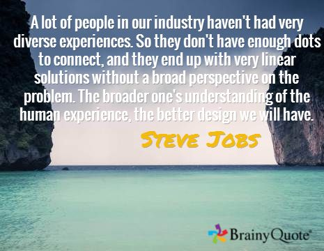 Steve Jobs quote. So fitting after my meeting with MJ tonight.