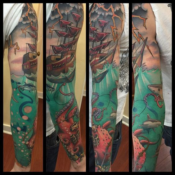 Kraken sleeve by barham williams at loose screw tattoo in for Tattoos richmond va