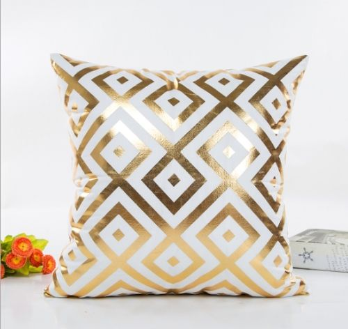 1 94 Home Sofa Car Bronzed Pillow Cover With Geometric Pattern Cushion Cover Diamond Type Decorative Pillow Cases Gold Decorative Pillows Soft Throw Pillows