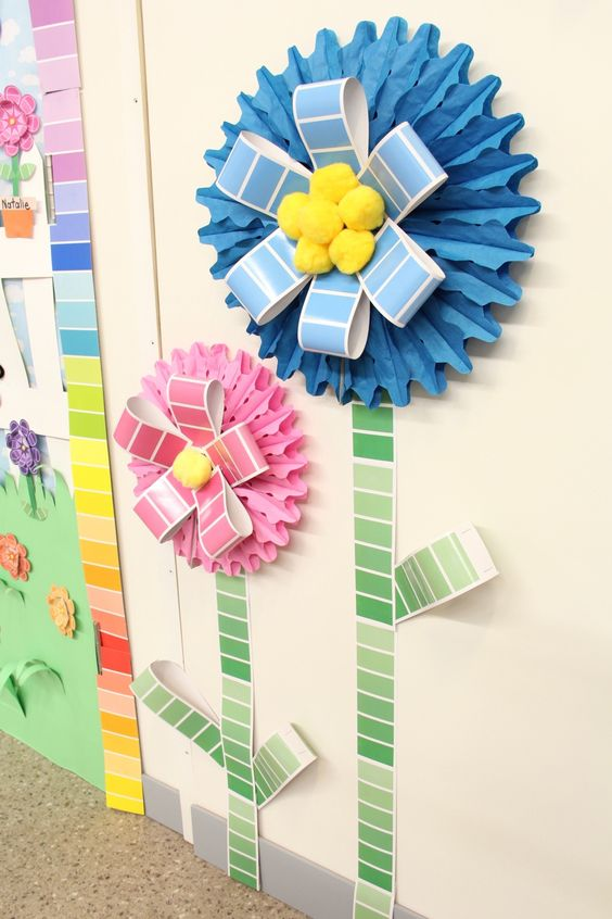 Decorate your door with paint chip supplies from oriental for How to decorate a cork board