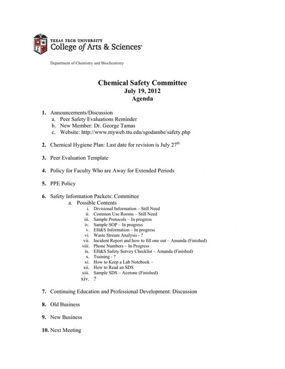 Editable Chemical Safety Committee July 19 2012 Agenda Safety Committee Agenda Template Word In 2020 Meeting Agenda Template Agenda Template Meeting Agenda