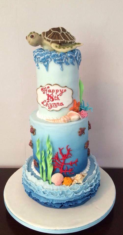 Under the sea cake  Turtle cake 18th Birthday cake