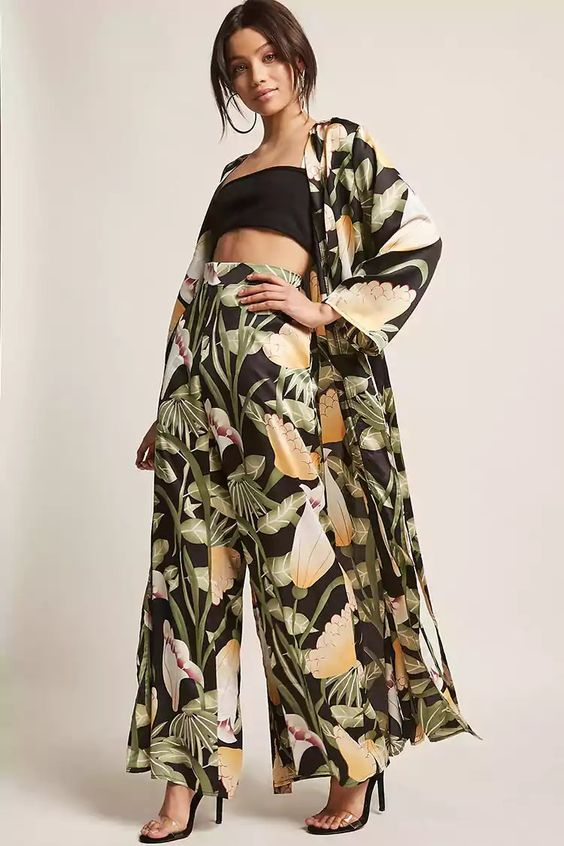 Product Name:Floral Satin Palazzo Pants, Category:CLEARANCE_ZERO, Price:38