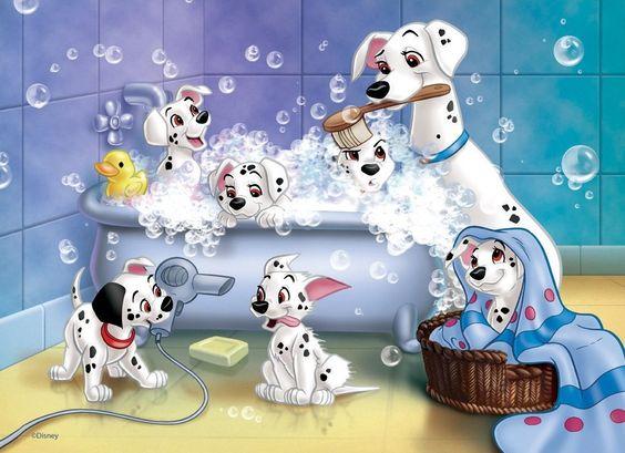 子犬たちを洗うパーディタ