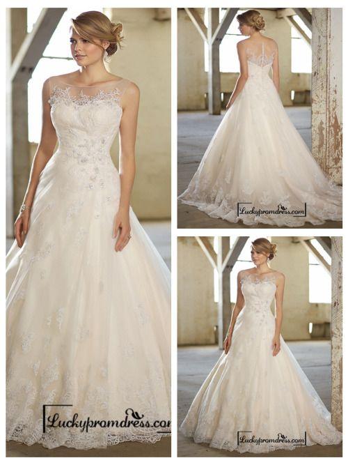 Stunning A-line Illusion Neckline & Back Lace Wedding Dresses