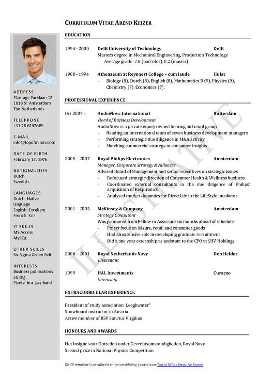 Free Curriculum Vitae Template Word Download CV template Oom - ot assistant sample resume