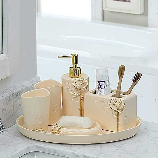Bathroom Accessory Set Soap Dispenser, Bathroom Soap Dispenser Set With Tray