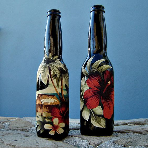Tela tropical decoradas botellas juego de 2  por sscookiesandcrafts