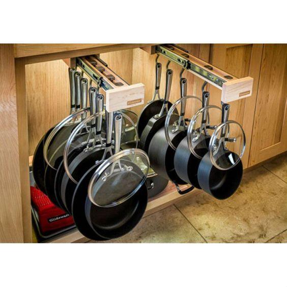 Kitchen Cabinet Organizers: The Glideware Pot Rack