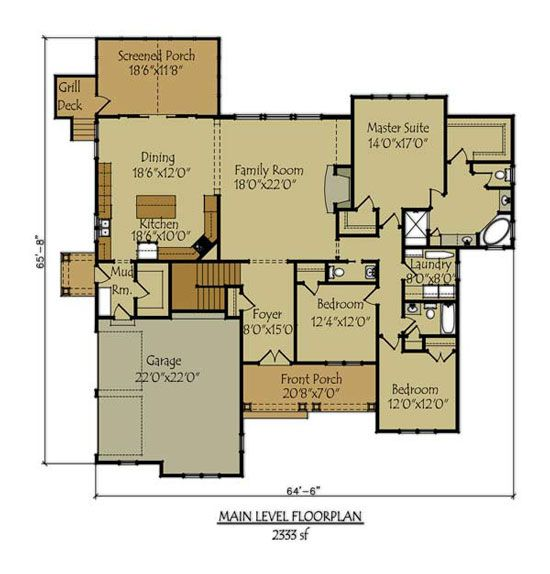 Cottage floor plans lake house plans and floor plans on for Walkout basement floor plans