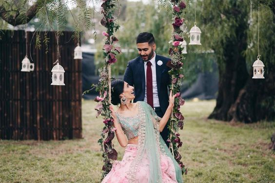 Inderpreet + Simran: A Vintage Fairytale Engagement in Melbourne - floral swing and hanging lanterns - exquisite engagement - Indian wedding inspiration - Anushree Reddy lehenga - Sikh wedding #thecrimsonbride