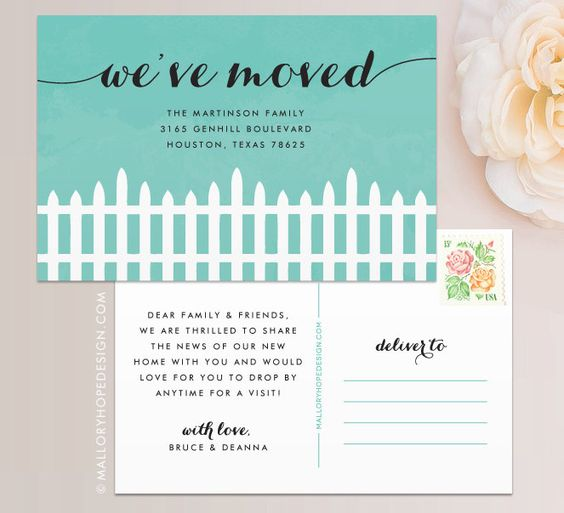 Fence Moving Announcement Postcard / Magnet / Flat Card - New Home Card, New Address Card, New Home Announcement, Change of Address Magnet by MalloryHopeDesign on Etsy https://www.etsy.com/listing/199680200/fence-moving-announcement-postcard