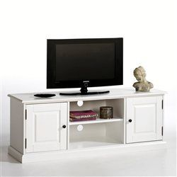 Banc TV, pin massif, écran jusqu'à 60 pouces (152 cm), laqué blanc, Authentic Style La Redoute Interieurs