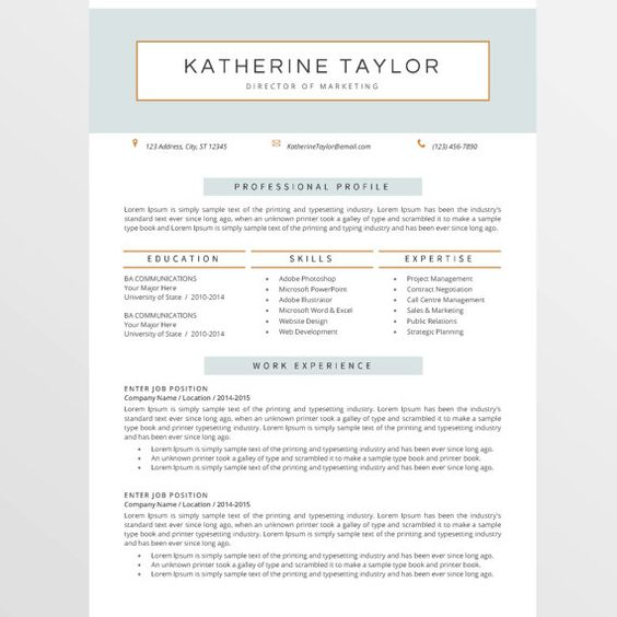 Resume Template And Cover Letter Template By MYPAPERPIG On Etsy   Director  Of Marketing Resume  Director Of Marketing Resume