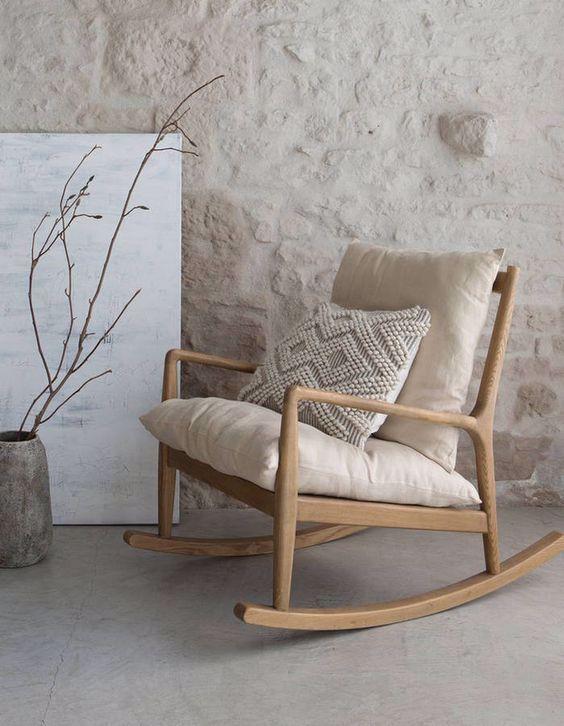 Fauteuil A Bascule En Bois Naturel Avec Coussins Couleurs Creme Fauteuil Bascule Cocooning Deco Rh In 2020 Rocking Chair Wooden Rocking Chairs Living Room Chairs
