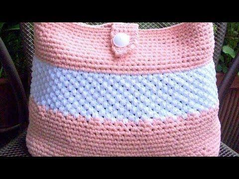 C mo realizar un bolso de trapillo crochet tutorial diy for Bolso crochet trapillo