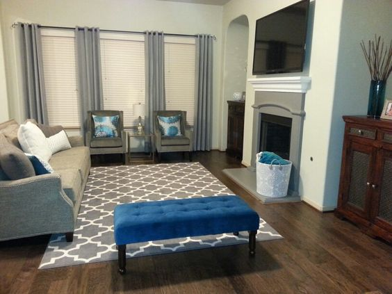 Teal gray living room for the home pinterest teal for Gray and teal living room